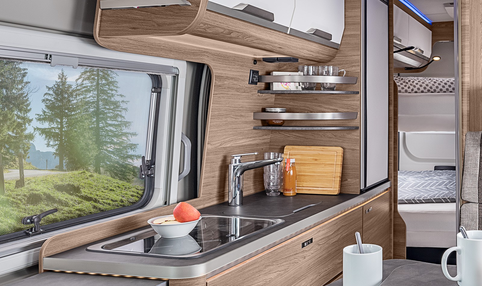 Clever kitchen storage in the knaus best family camper